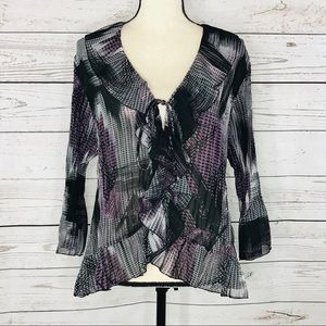 Notations Top Ruffle Abstract Semi-Sheer Crinkle